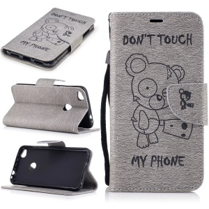 Imprinted Bear Leather Wallet Flip Case for Huawei P8 Lite (2017) / Honor 8 Lite - Grey