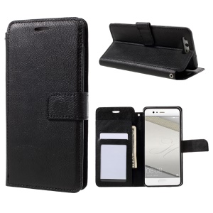 Retro Style Texture Leather Wallet Phone Case with Stand for Huawei P10 - Black