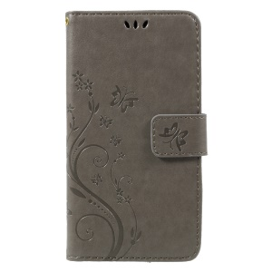 Imprinted Flora Butterflies Wallet Leather Mobile Case for Huawei P8 Lite (2017) / Honor 8 Lite - Grey