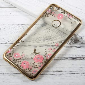 Flower Butterfly Diamond Plated TPU Cover for Huawei P8 Lite (2017)/Honor 8 Lite - Gold