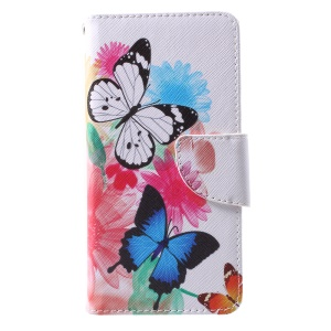 Pattern Printing Leather Wallet Case for Huawei P10 - Vivid Butterflies