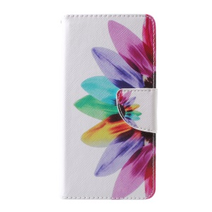 Pattern Printing Leather Wallet Cover Case for Huawei P10 - Colorful Petals