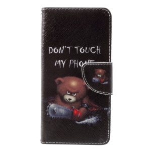 Pattern Printing Leather Wallet Case Cover for Huawei P10 - Brown Bear