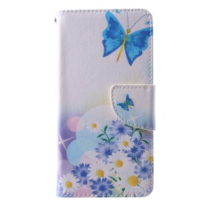 Pattern Printing Phone Leather Wallet Case for Huawei P10 - Blue Butterfly and Flowers