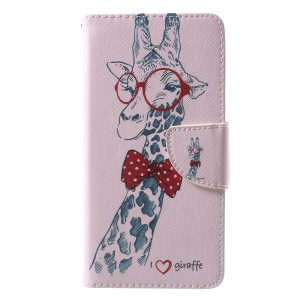Pattern Printing Stand Leather Wallet Case for Huawei P10 - Adorable Giraffe Wearing Glasses