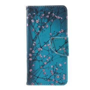 Pattern Printing Wallet Leather Magnetic Case for Huawei P10 - Tree with Flowers