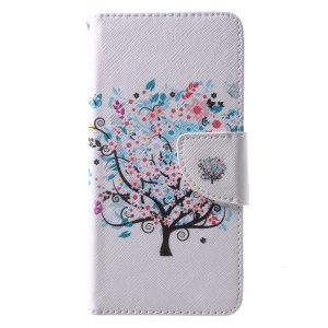 Pattern Printing PU Leather Wallet Case for Huawei P10 - Flowered Tree