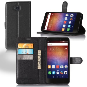 Lychee Grain Wallet Leather Stand Cover for Huawei Ascend XT - Black