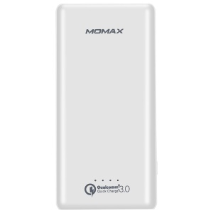 MOMAX iPower Minimal Qualcomm 3.0 Quick Charge 10000mAh External Battery Pack  for Samsung S8 etc. - White