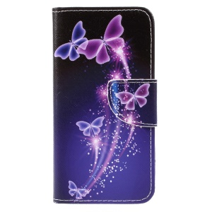 Pattern Printing Stand Leather Wallet Case for Huawei P8 Lite (2017) / Honor 8 Lite - Fluorescent Butterflies