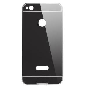 Slide-on Metal Frame Mirror-like Plated PC Phone Case for Huawei Honor 8 Lite - Black