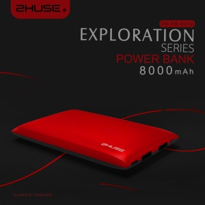 ZHUSE Exploration Series 8000mAh Double USB Power Bank for iPhone iPad Samsung - Red