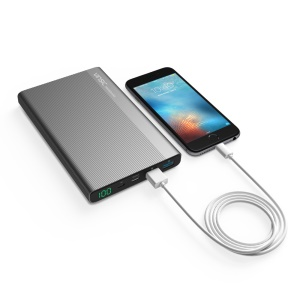 VINSIC RoHS Power Bank 20000mAh Type-C Smart Power Bank with LED Display for Samsung S8 etc. - Black