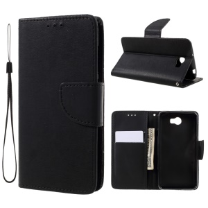 Stone Grain Leather Wallet Mobile Phone Shell with Stand for Huawei Y5II / Y5 II / Honor 5 - Black