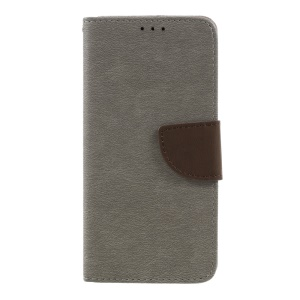 Stone Grain Leather Wallet Stand Phone Shell for Huawei Mate 9 - Grey