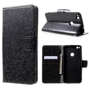 For Huawei P8 Lite (2017) / Honor 8 Lite Glittery Smooth Leather Magnetic Wallet Case - Black