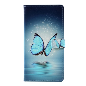 Pattern Printing Wallet Leather Stand Case for Huawei P10 Plus - Blue Butterfly