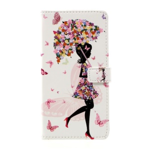 Pattern Printing Magnetic Leather Stand Case for Huawei P10 Plus - Flowered Girl Holding Umbrella