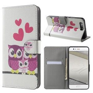 Patterned Leather Wallet Case Cover for Huawei P10 Plus - Sweet Owl Family