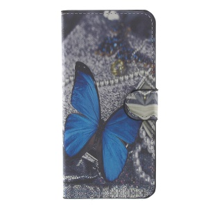 Patterned Leather Wallet Mobile Cover Accessory for Huawei P10 Plus - Blue Butterfly