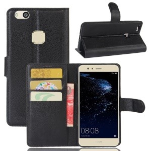 Lychee Skin Wallet Leather Stand Case for Huawei P10 Lite - Black