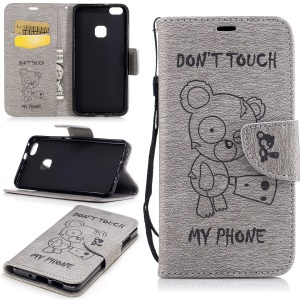 Imprint Bear Wallet Leather Stand Caso para Huawei P10 Lite - Cinza