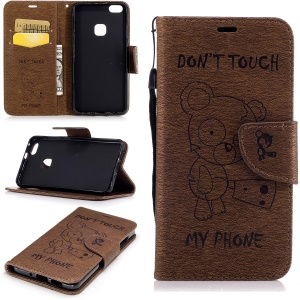 Imprint Bear Leather Stand Case with Card Slots for Huawei P10 Lite - Brown