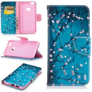 Pattern Printing Wallet Leather Stand Case for Huawei P10 Lite - Tree with Flowers