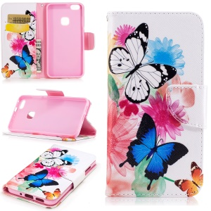 Pattern Printing Wallet Leather Stand Cover for Huawei P10 Lite - Butterflies and Flowers