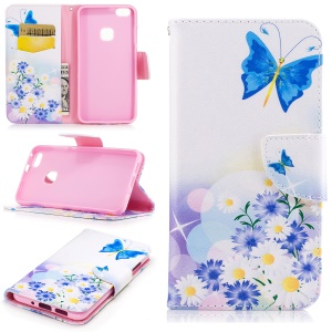 Pattern Printing Wallet Leather Magnetic Case for Huawei P10 Lite - Blue Butterfly and Flowers