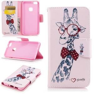Pattern Printing Wallet Leather Protective Case for Huawei P10 Lite - Cute Giraffe Wearing Glasses