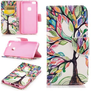 Pattern Printing Wallet Leather Cover Case for Huawei P10 Lite - Colorized Tree