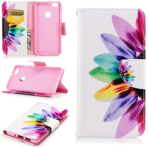 Pattern Printing Magnetic Leather Stand Case for Huawei P10 Lite - Colorized Petals