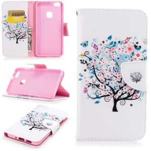 Pattern Printing Magnetic Leather Stand Cover for Huawei P10 Lite - Flowered Tree