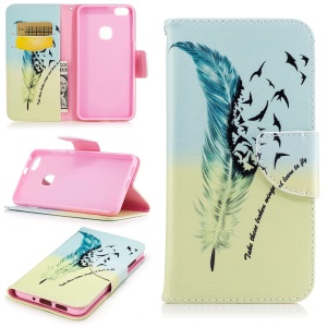Pattern Printing Leather Wallet Case for Huawei P10 Lite - Feather Pattern