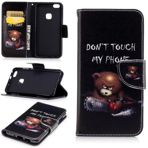 Pattern Printing Wallet Leather Case with Stand for Huawei P10 Lite - Brown Bear