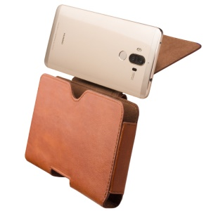 QIALINO Genuine Cowhide Leather Pouch Holster for Huawei Mate 9 Pro, Size: 16 x 9 x 1.4cm - Brown