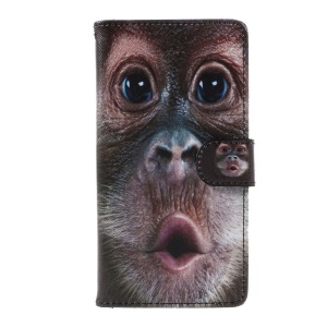 For Huawei Honor 8 Pattern Printing Leather Wallet Flip Case with Stand - Monkey