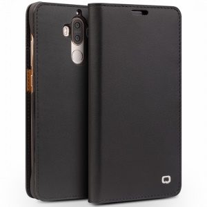 QIALINO Classic Gen II Top Layer Cowhide Leather Wallet Folio Case for Huawei Mate 9 - Black