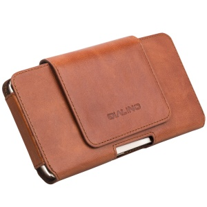 QIALINO Genuine Cowhide Leather Pouch Holster Case for Huawei Mate 9, Size: 16 x 9 x 1.4cm - Brown