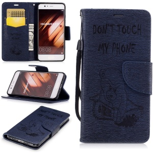 Imprinted Bear Leather Wallet Stand Case Shell for Huawei P10 - Dark Blue