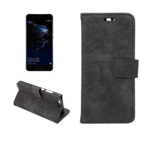 Retro Style Leather Wallet Flip Case Stand for Huawei P10 - Black