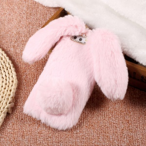 Rabbit Shape Fluffy Warm Fur TPU Cell Phone Case for Huawei P10 Plus - Pink