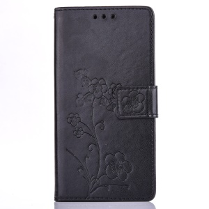 Plum Blossom Imprinted Leather Wallet Cover for Huawei P9 Lite/G9 Lite - Black