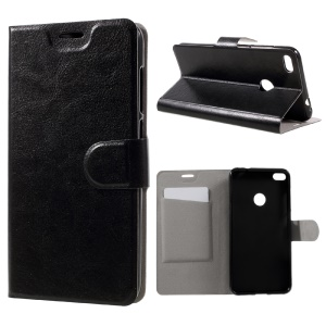 Crazy Horse PU Leather Case with Card Slot for Huawei P9 Lite (2017) Built-in Steel Sheet - Black
