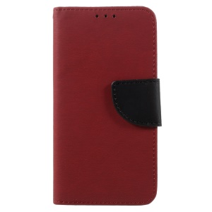 Pebble Grain Wallet Leather Mobile Cover for Huawei P8 Lite (2017) / Honor 8 Lite - Red