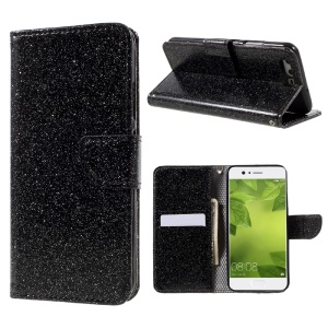 Flash Powder Leather Wallet Cell Phone Case for Huawei P10 - Black