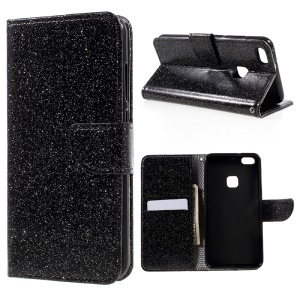 Glittery Smooth Wallet Leather Stand Flip Cell Phone Case for Huawei P10 Lite - Black