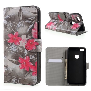 Patterned Leather Wallet Stand Mobile Phone Case for Huawei P10 Lite - Red Blooming Flowers