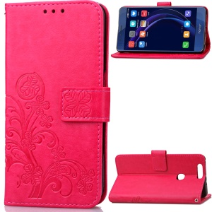 Four-leaf Clover Imprinted Leather Wallet Case with Lanyard for Huawei Honor 8 - Rose